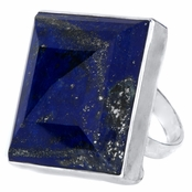 Alma's Jumbo Square Blue CZ Cocktail Ring