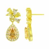 Alta's 1.5 Ct Champagne CZ Dangle Earrings