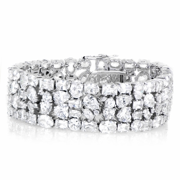 Amara's Mixed Cut Chunky CZ Cuff Bracelet - 7 inches