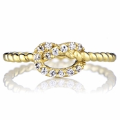 Amelia's Goldtone CZ Love Knot Ring