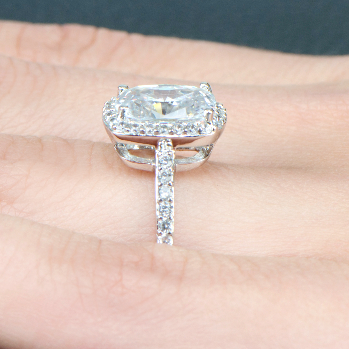 Amerie's 25 Carat Cushion Cut Halo Engagement Ring