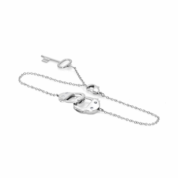 Handcuff and Key Charm Bracelet - Top Rated Petite Handcuff bracelet with key charm and extender - 7 inches