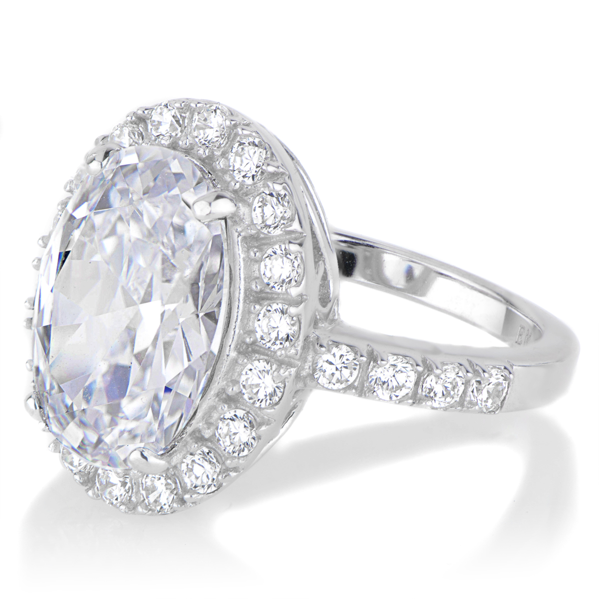 oval cut cz wedding ring with halo - 8 carats