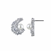 Andina's Vintage Bridal Imitation Pearl and CZ Earrings