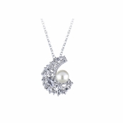 Andina's Vintage Bridal Imitation Pearl and CZ Necklace