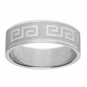Andrew's Greek Design Stainless Steel Engravable Men's Ring