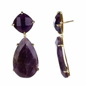 Angie's Amethyst Pear Drop Earrings - Goldtone