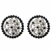 Anna's Silver and Black Faux Pearl Button Clip On Earrings
