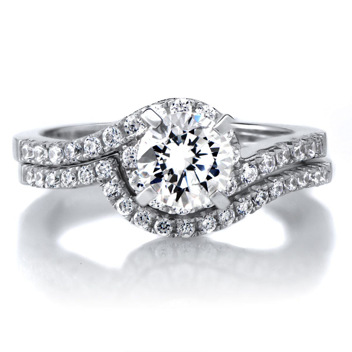 1ct Round Cut CZ Wedding Ring Set