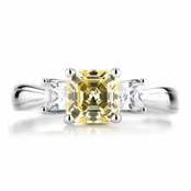 Three Stone Asscher Simulated Canary CZ Ring