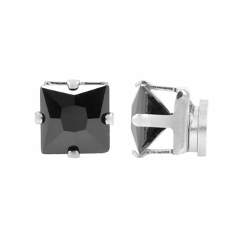 Anthony's Men's Black CZ Square Cut Non Pierced Magnetic Earrings