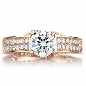 Antonia's Rose Goldtone and Round Cut CZ Engagement Ring