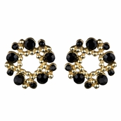 Arabella's Rhinestone Wreath Cluster Stud Earrings - Black