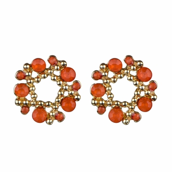 Arabella's Rhinestone Wreath Cluster Stud Earrings - Coral