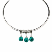 Aria's Beaded Dangle Choker Necklace - Green