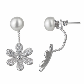 Ariah's Detachable 2 piece Sterling Silver CZ Simulated Pearl Flower Dangle Earring
