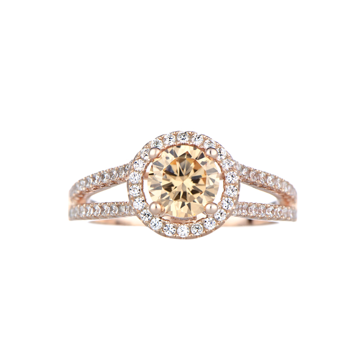 Ariane's Rose Gold Engagement Ring  Champagne Cz With Halo Roll Off Image  To Close Zoom Window