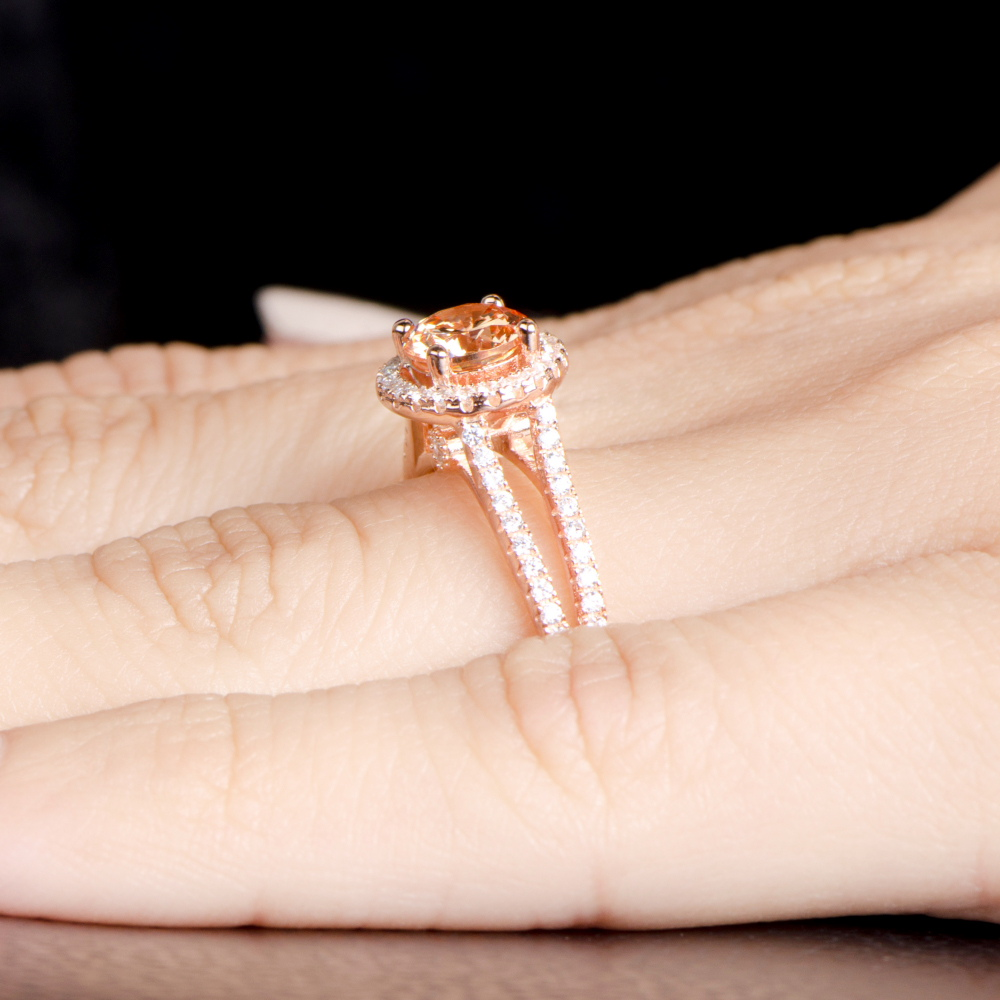 Ariane's Rose Gold Engagement Ring  Champagne Cz With Halo