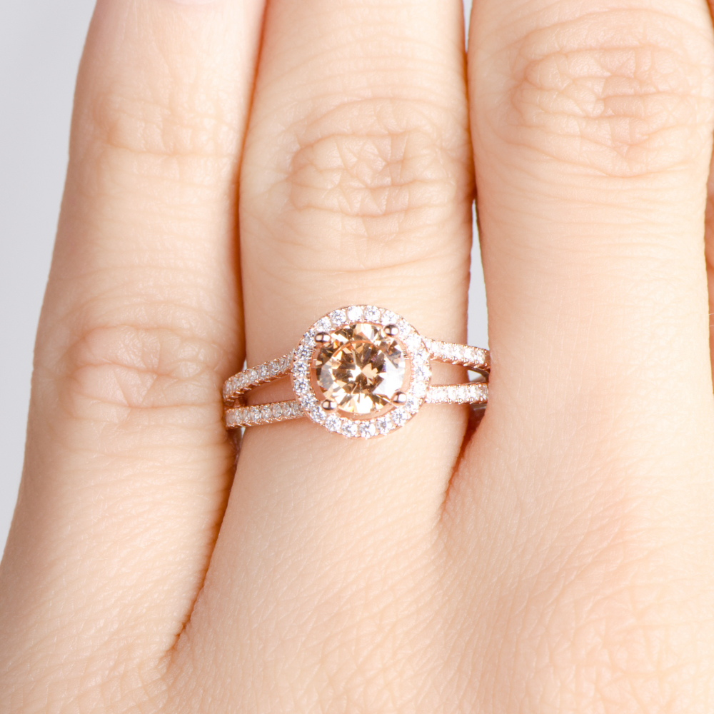 76 rose gold engagement rings rose gold wedding rings 1 Carat Morganite and Diamond Engagement Ring in Rose Gold