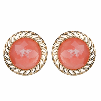Ariella's Pink Round Button Stud Earrrings