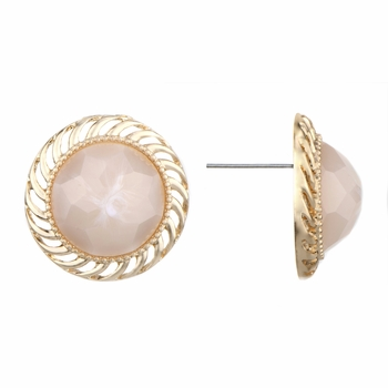 Ariella's Pink Stone Round Button Stud Earrrings