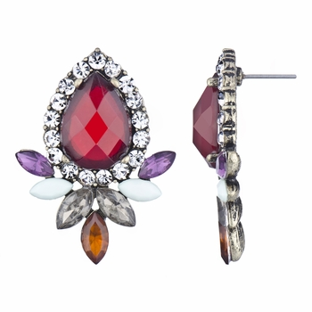 Arjana's Fancy Pear Cut Stud Earrings - Fall Colors