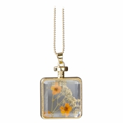 Arlo's Gold Dried Flower Glass Locket Necklace - Orange & Peach