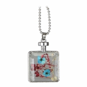 Arlo's Silver Dried Flower Glass Locket Necklace - Red & Turquoise