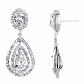 Cerice's Fancy Pave CZ Pear Drop Earrings