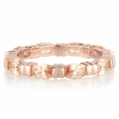 Astrid's Rose Goldtone and Peach Marquise Cut CZ Eternity Ring Band
