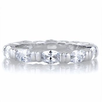 Astrid's Silvertone Marquise Cut CZ Eternity Ring Band