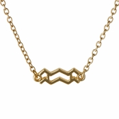 Athena's Goldtone Zodiac Charm Necklace - Aquarius