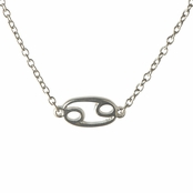 Athena's Silvertone Zodiac Charm Necklace - Cancer