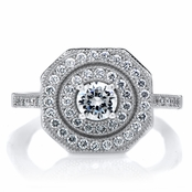 Aurora's .5ct Round Cut Art Deco Ring