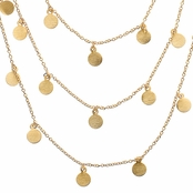 Ayla's 60 in. Brushed Goldtone Dangle Disc Layered Necklace