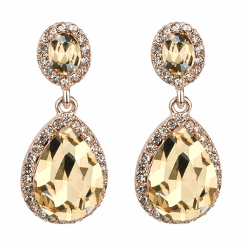 Bailey's Rose Goldtone & Simulated Champagne Rhinestone Peardrop Clip-on Earrings