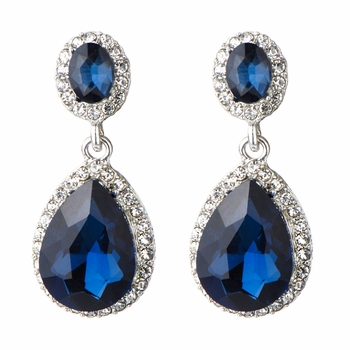 Bailey's Silvertone & Simulated Sapphire Rhinestone Peardrop Clip-on Earrings