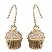 Baker's CZ Pave cupcake Earrings - Gold