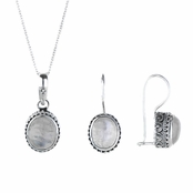 Oval Moonstone Pendant and Earring set with Vintage setting