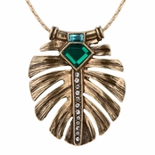 Bernadette's Elegant Simulated Emerald Leaf Inlay Pendant Necklace