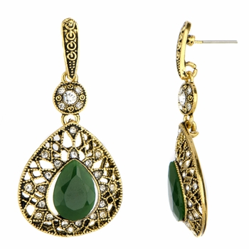 Beth's Green and Black Oxidized Goldtone Drop Earrings