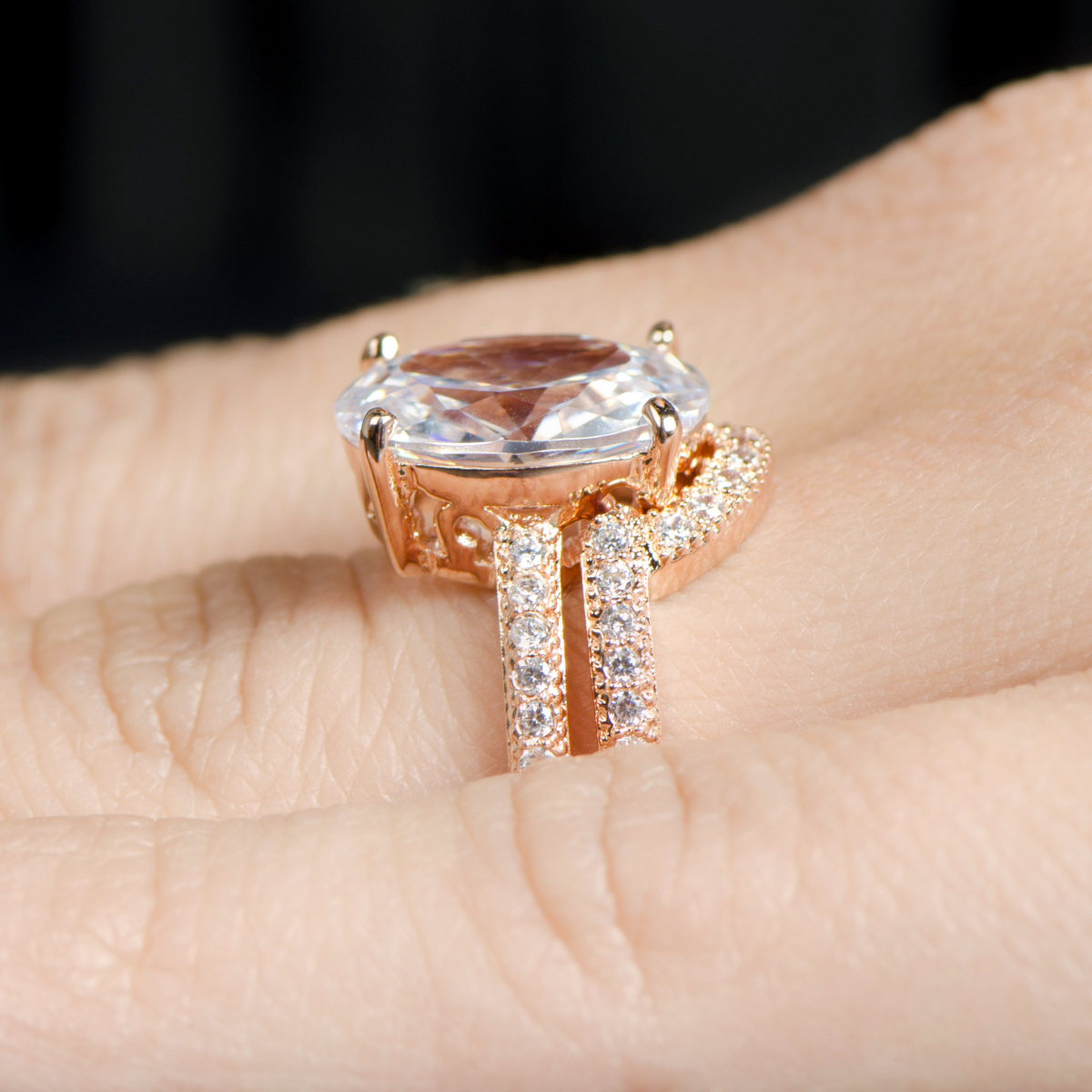 blush oval cut 5 carat rose goldtone cz wedding ring set - Rose Gold Wedding Ring Set