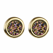 Blakely's Goldtone Simulated Drusy Quartz Stud Earrings - Mystic Dust