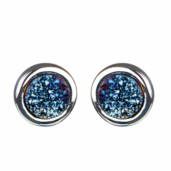 Blakely's Silver Tone Simulated Drusy Quartz Stud Earrings - Turquoise Dust