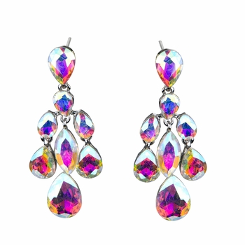 Boseda's Crystal Rhinestone Teardrop Chandelier Earrings