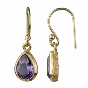 Bree's Genuine Amethyst Petite Pear Drop Earrings - Gold
