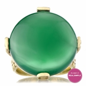 Genuine Green Onyx Cabochon Cocktail Ring - Gold