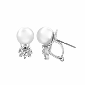Bridal Jewelry: Rusty's CZ & Imitation Pearl Stud Earrings