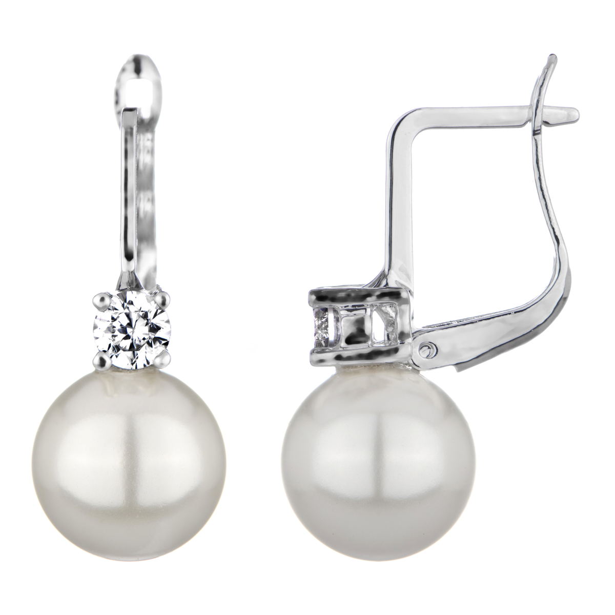 Imitation Pearl Leverback Bridal Earrings