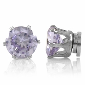 Brinkley's Round Cut CZ Non Pierced Magnetic Earrings - 6mm Lavender